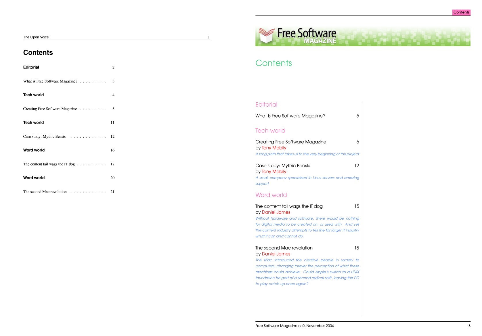 Creating free software magazine for Table of contents latex