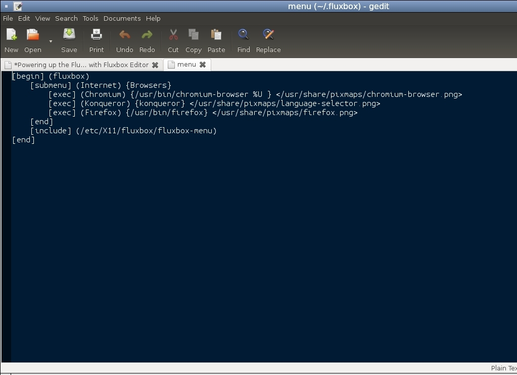 Powering up the Fluxbox Menus with Fluxbox Editor
