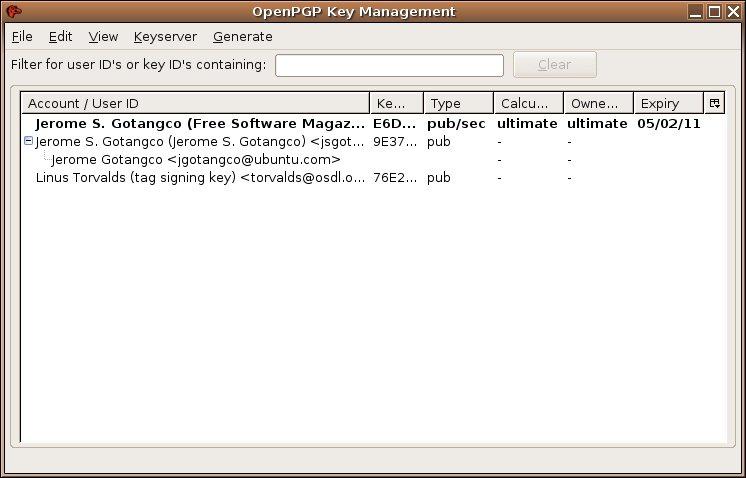 Openpgp key search