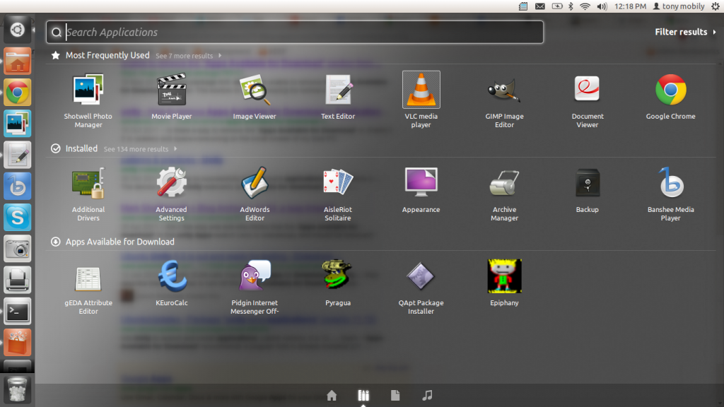 See all of your installed applications in Ubuntu Unity