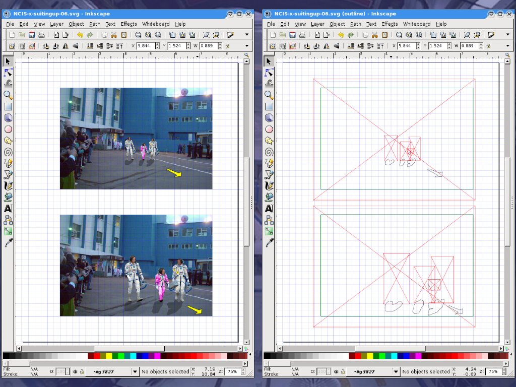 Storyboards for a film with Flickr, OpenClipart, Inkscape, Gimp, and