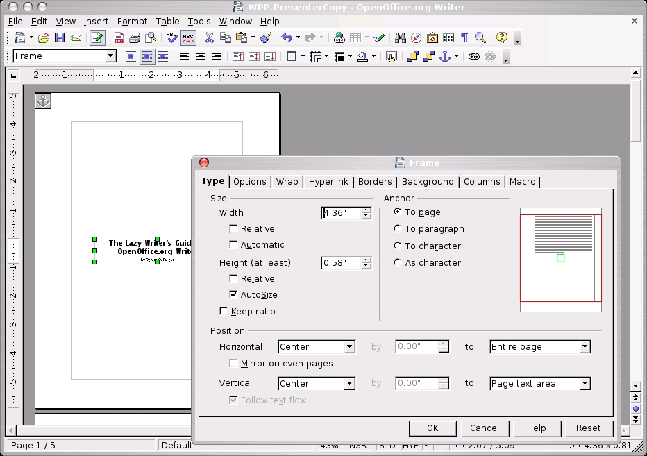 how to add a title page in open office